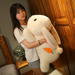 giant soft toy rabbit 2020 - cute rabbit doll giant white rabbit soft plush toy sleeping pillow for girl gift wedding deco 30inch 75cm DY50700