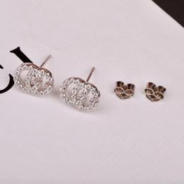 Discount stud diamond earrings design - New diamond Stud Earrings For Women cz Silver 925 Gold Angel simple design Fashion jewelry