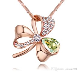 ladies fashion pendant design Australia - 2019 new Accessories Original Design fashion jewelry Set in drill Clover Crystal Necklace for women Lady green Popular Pendant Ornaments