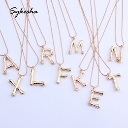 snake pendants Australia - 2019 New Gold 26 Letter Alphabet A-Z Hammered Alloy Bamboo Design Minimalist Pendant Necklace Fashion Snake Chain Neck Jewelry