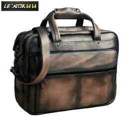 Antique Zippers Australia - Men Oil Waxy Leather Antique Design Business Briefcase Laptop Document Case Fashion Attache Messenger Bag Tote Portfolio 7146db #511182