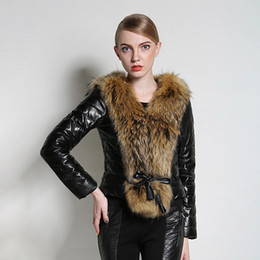 Women slim fit parka online shopping - Women Autumn Winter Warm Motorcycle Coat Faux Leather With Fur Collar Slim Fit Long Sleeve Sashes Biker Parkas Jackets