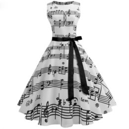 $enCountryForm.capitalKeyWord Australia - Women Summer Music Note Printing Dress Audrey Hepburn Robe Swing Casual Vintage Sleeveless O-neck Swing Dresses Vestidos