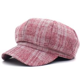 fa3b5dfa LDSLYJR 2019 plaid Octagonal Hats for women and men Berets Painter hat  Beanie cap 04