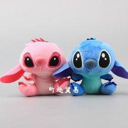 chicken statue UK - IVYYE stitch Angel Anime Stuffed Plush Dolls chain Pendant Fluffy Ornament Dolls Keychain Cartoon Toys Birthday Gifts New