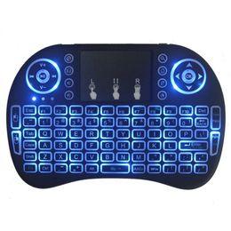 Ingrosso Mini tastiera senza fili 2.4G I8 inglese Air Mouse Tastiera telecomando Touchpad per Smart Android TV Box Tablet PC notebook