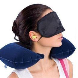 Travels Pillows Australia - U Shape Inflatable Pillow for Airplane Travel Eye Cover Earplugs Inflatable Neck Pillow Travel Accessories Pillows Sleep Air Cushion Pillow
