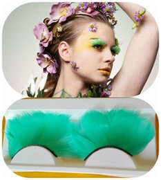 $enCountryForm.capitalKeyWord NZ - New Party Green Color Eyelashes Real Bird Fake Lashes Feather False Eyelashes halloween colorful festival feather false party strip lash