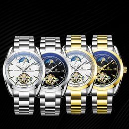 24 hour glasses Australia - Tourbillon Hollow Waterproof Watches Men Fashion Luminous Automatic Mechanical Watch 24 Hours Display Moon Phase Relojes