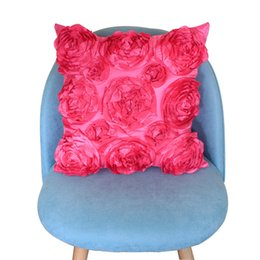 $enCountryForm.capitalKeyWord Australia - 42x42cm Home Roses Embroidered Car 3D European Style Pillowcase Chair Soft Cushion Cover Office Square Sofa Decorative Wedding