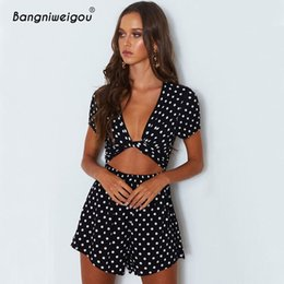 42147a6ee3d Bangniweigou Sexy Cut Out Knot Front Romper Women Short Sleeve Polka Dots  Summer Bell Shorts Playsuit Vacay Overalls for Girls