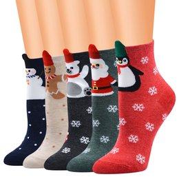 Ingrosso New Chrismas Calze Babbo Natale Donna Calze corte di cotone Inverno Cervi Cartoon Snow Man Calzini carini Capodanno Gigt