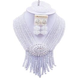 $enCountryForm.capitalKeyWord UK - Widely Popular Transparent Crystal Nigerian Women Wedding Beads Necklace Sets 8C-SK-28