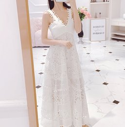 bf83cc8bd63 2019 New Spring Summer Women Sexy V-neck White Chic Beach Holiday Dress  Embroidery Lace Long Maxi Bohemian Party Runway Dresses