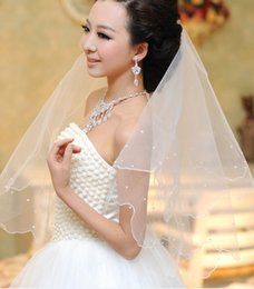 $enCountryForm.capitalKeyWord Australia - Hot High Quality Best Sale Pearls Beaded Two Layer Pencil Edge Wedding Veils Accessories Champagne Fingertip Length Alloy Comb