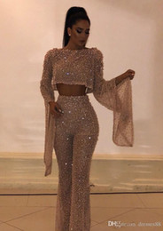 $enCountryForm.capitalKeyWord Australia - Hot Sell Sequined Two Pieces Prom Dresses Sheath Long Sleeves Plus Size Formal Dresses Party Evening Gowns Custom Made Pants Suits