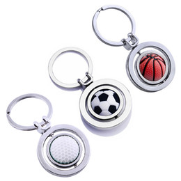 sports football key chains UK - Fashion Basketball Soccer Football Golf Keychain Keyring Sports Key Chain Key Ring Chain Keyfob Purse Bag Car Pendant Holder Jewelry Gift