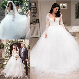 Bride Dresses Skirts Australia - Gorgeous Princess Ball Gown Wedding Dresses For Bride 2019 Illusion Long Sleeves Lace Applique Puffy Skirt Sweep Train Garden Bridal Gowns
