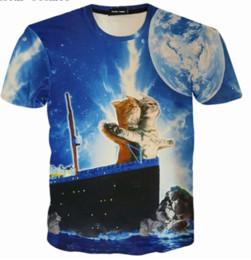 1d895d103 Newest Hot Fashion Men Women Titanic Movie T Shirt Funny Cat on Titanic  Boat Couples 3d T-shirt Lovely Cat Cartoon Tops Hip Hop Style K1024