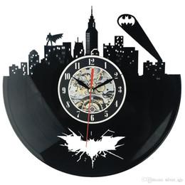 Classic Logo Designs Canada - 2018 Hot cd Vinyl Record Design Wall Clock Classic City Logo Wall Clocks Quartz Mechanism Black Vinyl Record Reloj