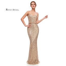 AfricAn dresses sAle online shopping - 2019 South African Backless Sequins Evening Dresses Elegant Mermaid Sleeveless Sheath Party Prom Gowns In Stock Regular Size Hot Sale