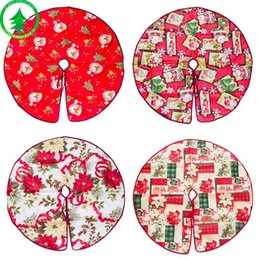 Xmas tree decorations flowers online shopping - Lovely Red Cloth Christmas Tree Skirt Aprons Santa Flower Christmas Decoration Festival DIY Decor New Year Xmas Tree Skirt
