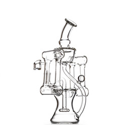 Recycling Bongs UK - KGG 11 inch clear water pipe galss bong with two sides recycle vortex perfectly and 14.5mm joint