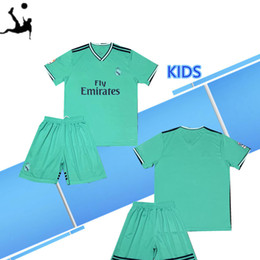 8a3221dd3e1 2019 Kids Kit Real madrid away Green soccer Jersey 19 20 new season  9  BENZEMA  12 MARCELO Child Soccer uniforms Customized jersey+shorts