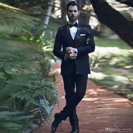 $enCountryForm.capitalKeyWord Australia - 2019 Black 3 Piece Slim Fit Wedding Tuxedos Peaked Lapel Men Formal Groomsmen Suits Custom Made Prom Formal Suit with Free Bow Tie