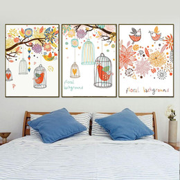 living art paintings NZ - Nordic Style Bird Tree Posters And Prints Wall Art Illustratio A4 Canvas Painting Floral Birdcage Pictures For Living Room Decor