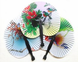 fan party favors Canada - Vintage Flower Printing Paper Fan Wedding Decoration Party Favors Chinese Hand Folding Fan Fancy Women Girls Dancing Fan