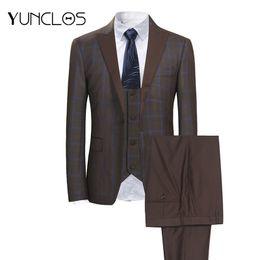 Men Suits Australia - Yunclos 3 Pcs Classic Men's Suits Single Breasted Plaid Business Suits Tuexdos Wedding Party Dress Casual Slim Men Suit Tuexdos Y190418