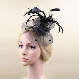$enCountryForm.capitalKeyWord Australia - Fine linen hat banquet NET hat wedding dress headdress feather hairpin trim top trim hair trim
