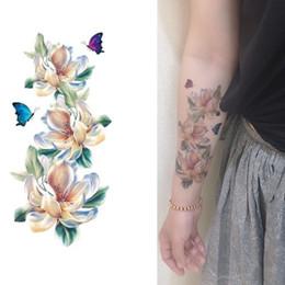 Fake tattoos Foot online shopping - Women Temporary Tattoo Sticker Black D Flower Design Full Flowers Arm Body Art Big Large Fake Tattoo Sticker