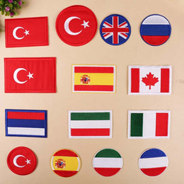 $enCountryForm.capitalKeyWord Australia - Turkey Britain uk Russia Spain Canada Italy France flag patches sticker for clothes iron on Patches Stripe badges military patch
