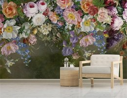 yarn painting UK - European retro nostalgic hand-painted rose flower romantic Background Wall Decoration Wallpaper