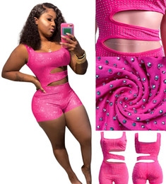 $enCountryForm.capitalKeyWord Australia - 50sets Sexy Hollow waist Tracksuit Drilling JumpSuit High Waist Set Sexy Vest+short Pant Pink Leisure Sports Suit Pink Blue S-XL HTS206