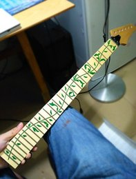 inlay fingerboard electric guitar NZ - Selling 24 Frets maple Electric Guitar Neck maple fingerboard inlay green tree of life wood color Guitar accessories parts