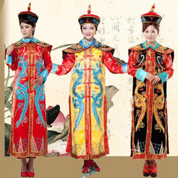 Wholesale china shipping costume online – ideas Ancient China Manchu Qing Dynasty Queen Empress Robe Dress Cosplay For Lady Chinese traditional Women Clothing Act Costume Drop Shipping