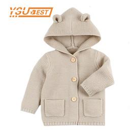 Knit Baby Jacket NZ - 2019 Winter Warm Newborn Baby Sweater Fur Hood Detachable Infant Boys Girl Knitted Cardigan Fall Outwear Children Knitwear 1-24m J190509