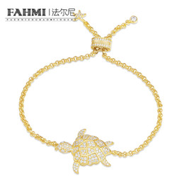 $enCountryForm.capitalKeyWord Australia - FAHMI 100%925 Sterling Silver Gold Color Crystal Diamond Small Turtle Bracelet AB3573OXY Female Jewelry Free Shipping Wholesale