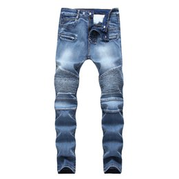 Brown Ripped Jeans NZ - Distressed Ripped Jeans Fashion Designer Straight Motorcycle Biker Jeans Causal Denim Pants Streetwear Style mens Jeans Cool