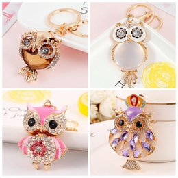 $enCountryForm.capitalKeyWord Australia - Jewelry Keychain Owl Keyring Stereo Crystal Jewelry Gift Wallet Car Pendant Men and Women Joker Pendant Factory Direct