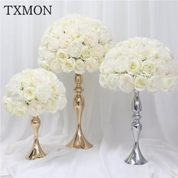 rose bouquets balls UK - 35cm 45cm 50cm Artificial silk rose peony flower ball wedding center table flower Bouquet for wedding party decoration flowers