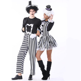 tv couple costumes NZ - Black and White Couple Circus Clown Costume,Mens Nobody's Fool Costume,Women Devious Playful Jester Babe Costume Clowns Uniforms