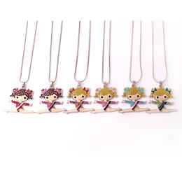 Gymnastics Pendants Australia - Fashion Gymnastics Girl Cartoon Figure Charm Pendant Crystal Dance Girl Sports Snake Chain Necklace for Women