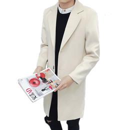 365f47600196 2018 primavera e autunno moda casual da uomo nuova boutique giacca a vento  lunga / trench coat monopetto di colore solido da uomo