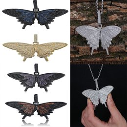 Wholesale Iced Out Multicolor Big Butterfly Pendants Necklaces Micro Pave Shiny Zircon Insect Pendant Rock Hip Hop Jewelry Men Gift