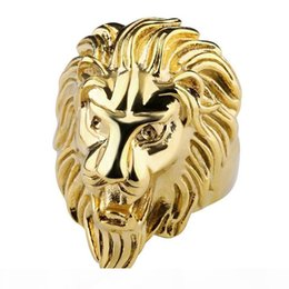 stainless steel lion rings Canada - Fashion Lion Band Ring Gold Steel Color Mens Rings 316L Stainless Steel Jewelry For Mens Jewelry Wedding Love Ring Anillos for Cool Men