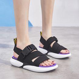 $enCountryForm.capitalKeyWord Australia - Women Sandals 2019 Fashion Stretch Fabric Summer Women Shoes Buckle Strap Breathable Soft Fashion Flats Beach Shoes Y19070503